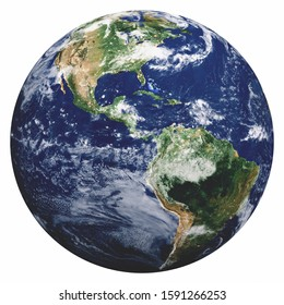 Planet Earth on white. Elements of this image furnished by NASA. 3d rendering