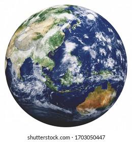 Planet Erde auf Weiß. Elemente dieses von der NASA bereitgestellten Bildes. 3D-Rendering