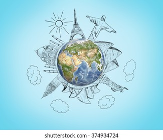 Planet earth with pencil sketches 7 Wonders of the World on blue background. Travel and world concept. Elements of image are furnished by NASA.