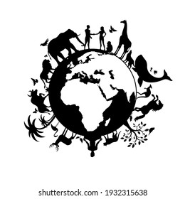 Planet Earth with people and animals black silhouette illustration. Wild animals silhouette. Earth with fauna and flora icon. Animals and people together on planet earth icon. Environmental concept
