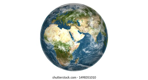 Planet Earth round white background