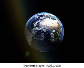 planet earth seen from space 3d illustration