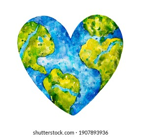Planet Earth in the shape of a heart. Earth Day. Watercolor botanical hand drawn illustration.