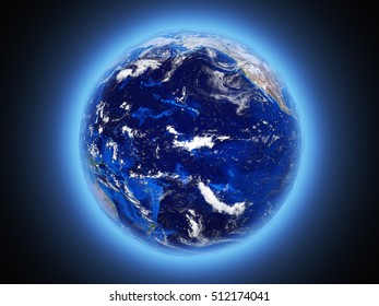 planet Earth shines view from space 3d