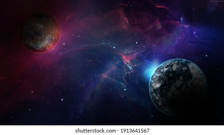 A Planet With Earth And Shining Stars In Blue And Purple Space In Background