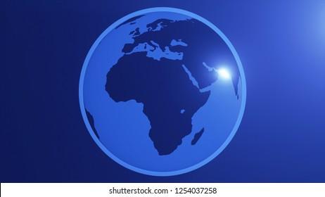 The Planet Earth simple Africa 3d illustration