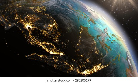 Planet Earth Southeast Asia zone. Elements of this image furnished by NASA