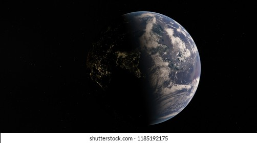 Planet Earth from space 3D illustration orbital view, atmosphere, land, clouds, globe (Elements of this image furnished by NASA)