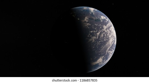 Planet Earth from space 3D illustration orbital view, clouds, globe (Elements of this image furnished by NASA)