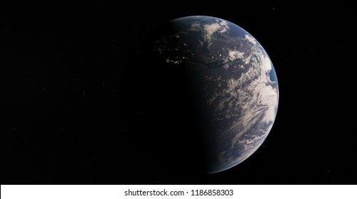 Planet Earth from space 3D illustration atmosphere, land, clouds, globe (Elements of this image furnished by NASA)