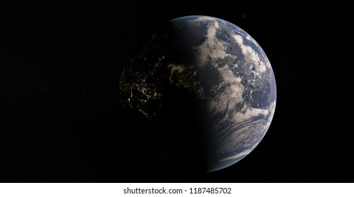 Planet Earth from space 3D illustration orbital view, our planet from the orbit (Elements of this image furnished by NASA)