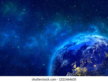Planet Earth in space, by night. Elements of this image furnished by NASA. 3D rendering.