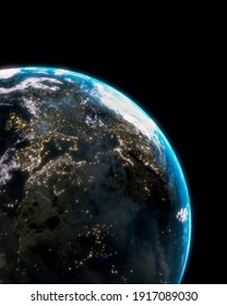 Planet Earth from space with cloud formation. 3D rendered wallpaper
