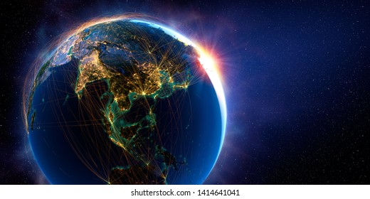 Planet Earth in space with detailed relief is covered with a complex luminous network of flight routes based on real data. Asian countries. 3D rendering. Elements of this image furnished by NASA