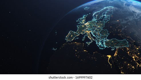 Planet Earth from Space EU European Countries teal glow highlighted, state borders and counties, city lights, 3d illustration