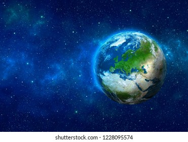 Planet Earth in space. Europe, part of Africa and Asia. Elements of this image furnished by NASA. 3D rendering.