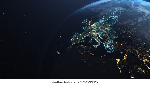 Planet Earth from Space European Union Countries highlighted teal glow, 2020 political borders and counties, city lights, 3d illustration