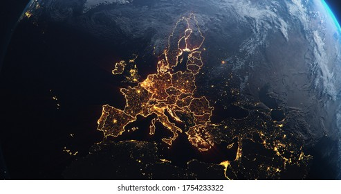 Planet Earth from Space European Union Countries highlighted orange glow, 2020 political borders and counties, city lights, 3d illustration