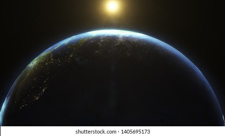 Planet earth from space, fantastic sunrise. 3D Render with real footage of planet earth