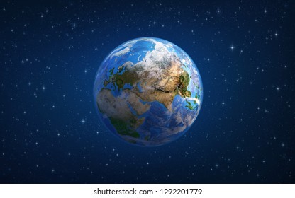 Planet Earth in space, focused on Europe and Asia. 3D illustration - Elements of this image furnished by NASA.
