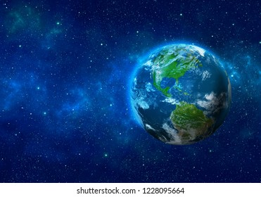 Planet Earth in space. North and South America. Elements of this image furnished by NASA. 3D rendering.