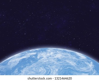 Planet Earth in space. Ocean and clouds. Elements of this image furnished by NASA. 3D rendering.