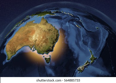 Planet Earth from space showing Australia and New Zealand with enhanced bump, 3D illustration, Elements of this image furnished by NASA