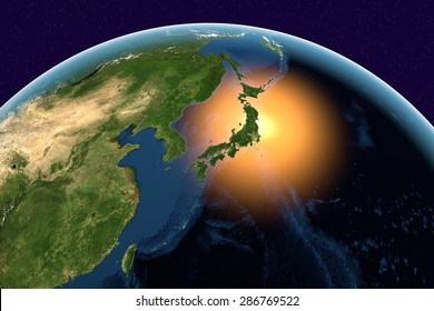 Planet Earth; the Earth from space showing Japan, Asia on globe in the day time; elements of this image furnished by NASA