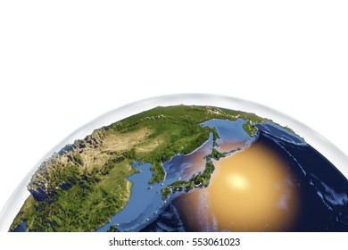 Planet Earth from space showing Japan with enhanced bump isolated on white background, 3D illustration, Elements of this image furnished by NASA