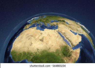 Planet Earth from space showing Nothern Africa and Arabian Peninsula, 3D illustration, Elements of this image furnished by NASA
