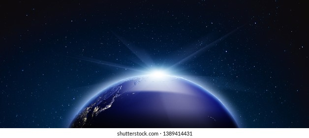 Planet Earth from space. Stars my own photo. Elements of this image furnished by NASA 3d rendering