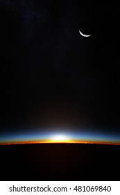 Planet earth from space as the sun starts to break through the atmosphere (3D Render)