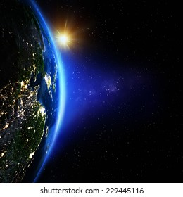 Planet Earth from space sunrise. Elements of this image furnished by NASA