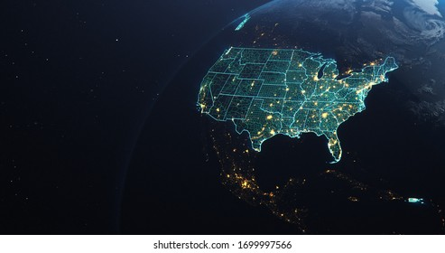 Planet Earth from Space USA, United States teal glow highlighted state borders and counties, city lights, 3d illustration
