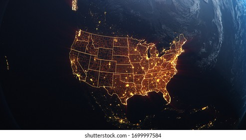 Planet Earth from Space USA, United States orange glow highlighted state borders and counties, city lights, 3d illustration