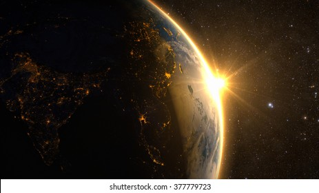 Planet Earth with a spectacular sunrise, view on China and India. Elements of this image furnished by NASA