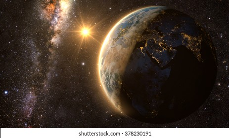 Planet Earth with a spectacular sunset, view on Europe, Asia and Africa, with milkyway in background. Elements of this image furnished by NASA