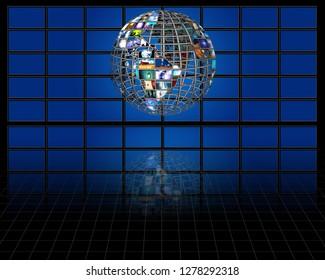 Planet earth sphere of video screens. 3D rendering