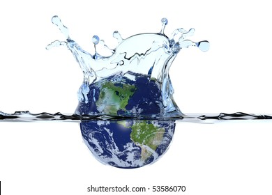 Planet Earth splashing in water surface causing a water crown and ripples. Isolated with clipping path. Globe shows North- and South America. Maps courtesy of visibleearth.nasa.gov.