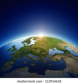 Planet earth with sun rising over European countries (Elements of this image furnished by NASA- earthmap  http://visibleearth.nasa.gov)