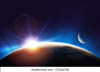 Planet Earth Sunrise Concept Sun, Earth and Moon. Space Concept.