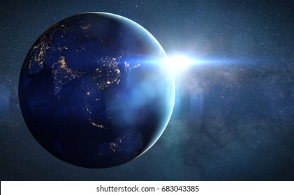 planet Earth, sunrise over Asia (3d render, elements of this image are furnished by NASA)
