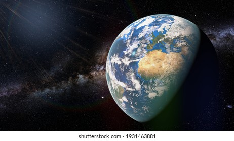 planet Earth, view from outer space, background banner format (3d rendering, elements of this image are furnished by NASA)