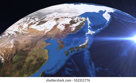 Planet Earth view. showing Asie and Japan continent, 3d render