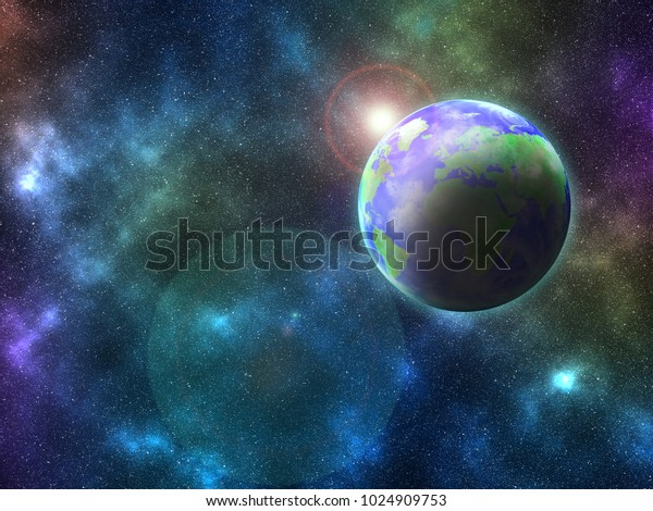 Planet Earth View Space Dawn On Stock Illustration 1024909753