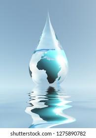 Planet Earth in water drop. 3D rendering