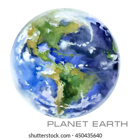 Planet Earth watercolor illustration.
