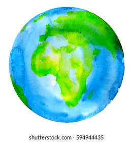 Planet Earth Watercolor Painting Globe Illustration