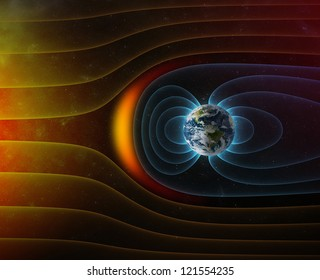 planet Earth's magnetic field against Sun's solar wind (Elements of this image furnished by NASA)