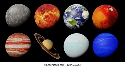the planet family of the solar system isolated on black background (3d space rendering, elements of this image are furnished by NASA)